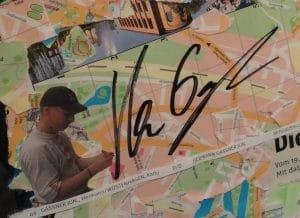 Original Unterschrift von Rally-Fahrer Hermann Gassner mit michaela de Luxe